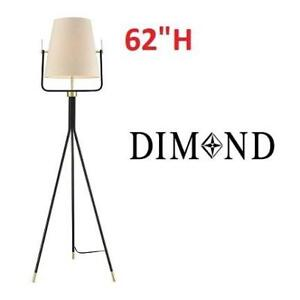NEW DIMOND ONE LIGHT FLOOR LAMP D3367 211480967 BLACK BRASS FINISH OFF-WHITE FAUX SILK SHADE CROMWELL