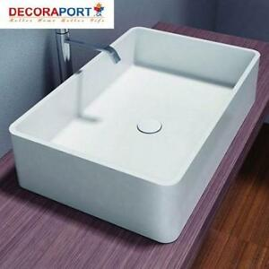 NEW WHITE BATHROOM VESSEL SINK HB9009 213825086 Decoraport Rectangular Artificial Stone Above Counter