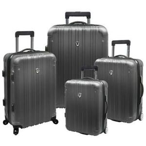 NEW 4PC HARD SHELL LUGGAGE SET TC5800G 136193214 SPINNER SUITCASE TRAVELERS CHOICE LUXEMBOURG TITANIUM
