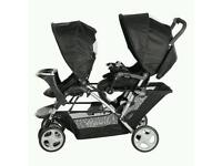 Double pram pushchair buggy stroller with everything