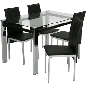 Clear Glass Dining Table & 4 Black Chairs