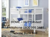 Brand New Novaro Bunk Bed Frame in Solid Pine with a white finish. Can make x2 single beds. Free Del