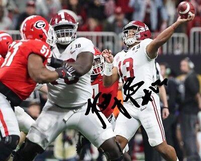 Tua Tagovailoa Alabama Football Signed 8X10 Photo Rp OT Game Winning TD Pass