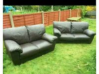 2 seater and 3 seater brown leather can deliver