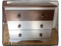 Pine Chest Of 3 Drawers Hand Painted in ANNIE SLOAN Paris Grey Chalk Paint.