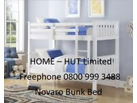 Bunk Beds. Novaro. Brand New. Solid Pine with a White or a Grey finish. Can make x2 single beds.