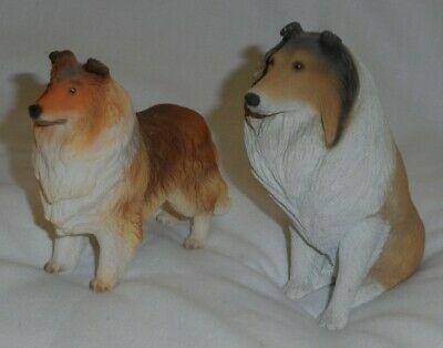 Set of 2 Collie Figurines, one Sand Sculpture, one Stone Resin(?)