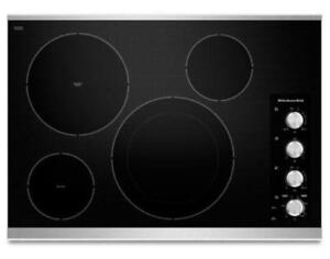 "KITCHENAID NEW KECC604BSS 30"" ELECTRIC, 4 ELEMENTS KNOB CONTROLS   CERAN COOKTOP (BD-1522)"