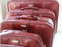 Vintage Red Leather Style Suitcase