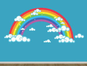 REUSABLE FABRIC RAINBOW WALL STICKER / WALL DECAL, 4FT X 2 FT
