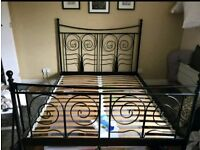 IKEA Noresund Black Metal Double Bed Frame With Mattress// Can deliver