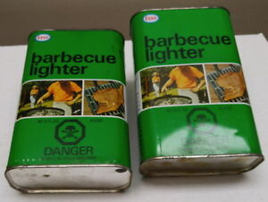 2 collectible vintage Esso barbecue lighter/starter fluid w tins