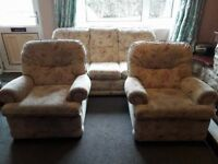 Good quality 3 piece suite (3 seater sofa + 2 chairs) from Wetherells of Redcar. No tears