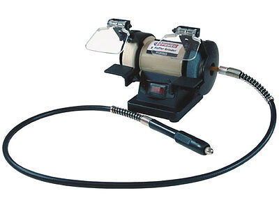 """Buffer/Grinder, 3"""" Bench Combo, with 42"""" Flex Shaft for Rotary Tools"""