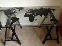 World Map Glass Table with Tresle legs (Glass is safety glass)