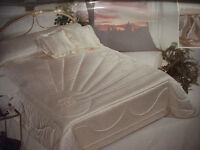 Brand New Queen Size Embroidered Italian White Satin Comforter