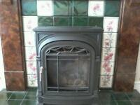 Gas fire with fireplace