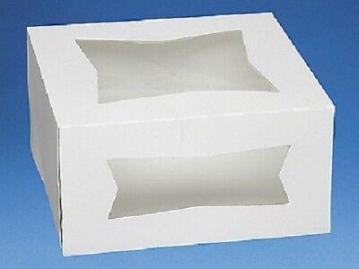 Pack Of 25 White 8x8x4 Window Bakery Or Cake Box