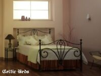 Double bed - wrought iron black
