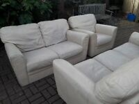 Good quality Barker & Stonehouse cream leather 3 + 2 seater sofas plus chair. No tears to leather