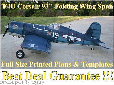 """F4U Corsair 93"""" WS Giant Scale RC Airplane Full Size PRINTED Plans & Templates d'occasion  Expédié en Belgium"""