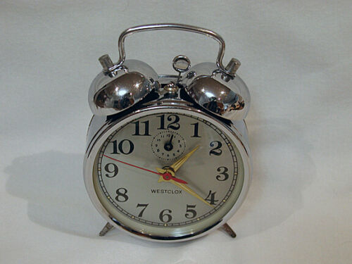Westclox, Chrome, Twin Bell Alarm Clock, Works Very Well, 1970