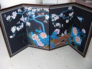 Hand painted four panel silk picture or divider
