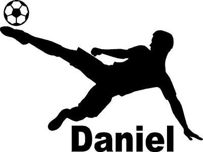 Custom Soccer player with name and soccer ball   vinyl decal  (Customized Soccer Balls)