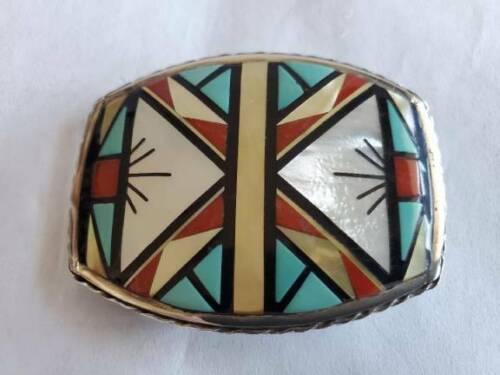 Vintage ZUNI Geometric Inlaid Belt Buckle signed C. M. Booqua ZUNI
