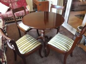 Lovely solid wood tilt dining table and 4 chairs handmade by Archer & Smith LTD.