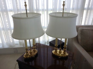 Unique Brass Lamps with Telescopic Silk Shades
