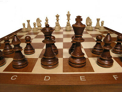 "Tournament No.5 Wood Chess Set  - Folding 19"" board - 2"" sq - 3 1/2"" King"