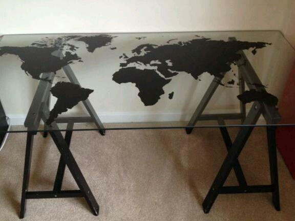 2 X Ikea World Map Glass Tables With Trestle Legs
