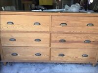 Solid wood large wide chest of 6 drawers