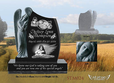 Angel Statue 3D Black Granite with angled top Cemetery Headstone