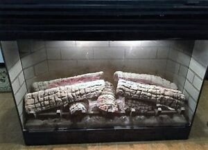 Dimplex  Electric Fireplace+Vintage 7Pc Marble-Brass Accessories