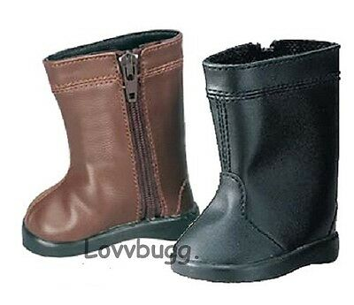 "Lovvbugg Black Horse Riding Boots for 18"" American Girl or Boy Doll Shoes"