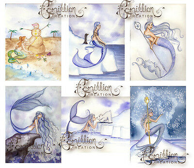 WINTER MERMAID NOTE CARDS from Original Watercolors by Grimshaw Halloween