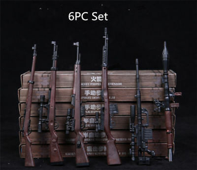 US 6PCS RPG 1/6 M14 Automatic Rifle Model Assembly Weapon Gun Toy Fit 12