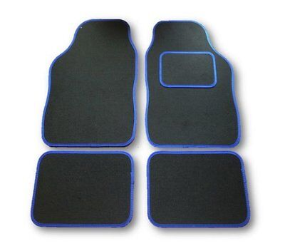 FORD FIESTA ALL MODELS UNIVERSAL Car Floor Mats Black Carpet  BLUE Trim