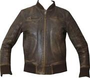 Mens Brown Leather Bomber Jacket