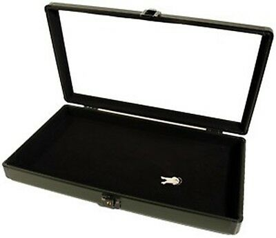 Black Key Locking Aluminum Jewelry Collectibles Display Storage Case
