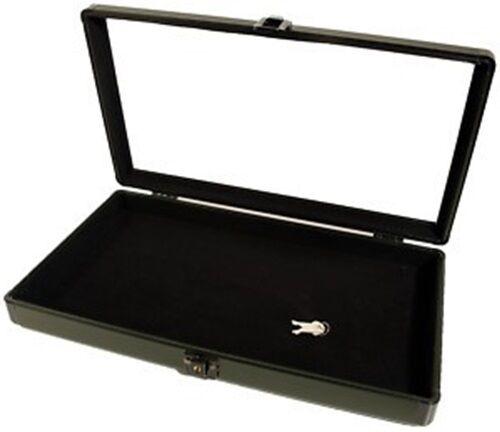 Black Key Locking Aluminum Jewelry Collectibles Display Storage Case