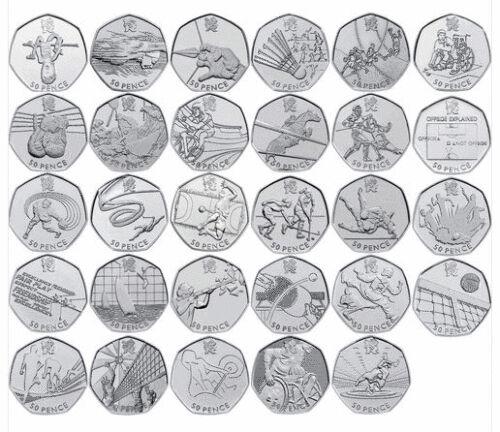 London 2012 All Olympic 50p Coins inc Football Triathlon Judo Wrestling FREEPOST