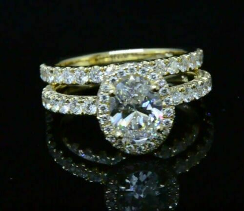1.90 Ct Halo Oval Brilliant Cut Diamond Prong & Pave Engagement Ring GIA F,VS1  4