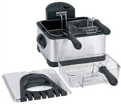 Home Double Deep Fryer 4 Qt. Electric Stainless Steel Kitchen 1700w 3 Baskets