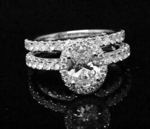 1.90 Ct Halo Oval Brilliant Cut Diamond Prong & Pave Engagement Ring GIA F,VS1  3