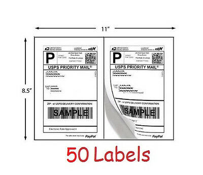 Shipping Labels 50 Self Adhesive Printer Paper Ebay Paypal Postage 8.5 X 5.5