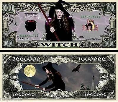 Witch Halloween Million Dollar Bill Fake Funny Money Novelty Note + FREE SLEEVE](Fake Halloween Money)