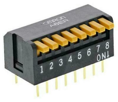 Omron A6ER8104 DIP Switch SPST 8 Position Piano Actuator 25mA 24VDC A6ER-8104